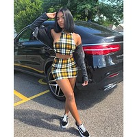 Yellow Plaid Print Sexy 2 Piece Set Womens Summer Matching Sets Club Outfits Crop Top And Skirt Short Suit