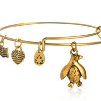 Alex and Ani style penguin pendant charm bracelet,a perfect gift !