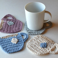 Teacup Coasters, Set of 4 or 6, Customizable Beverage Coasters, Gift Wrap in Sheer White Organza Bag Available