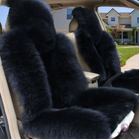 Hot sale Single Car Seat Cover Sheepskin Long Wool Warm Winter Black Cushion NEW