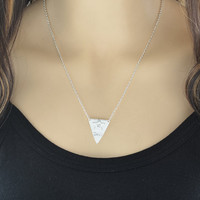 Rare Stamped Overlaying Star on Triangle Pendant Necklace, Overlaying Star Pendant Jewelry, 14k Rose Gold Fill Hand Stamped Pendant - #7185