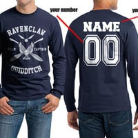 Custom Back name and number, Ravenclaw Quidditch team Captain WHITE on Longsleeve MEN tee