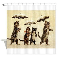 CafePress - Cats, Vintage Painting - Decorative Fabric Shower Curtain