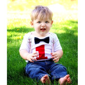 Baseball Theme First Birthday Outfit Red Bow