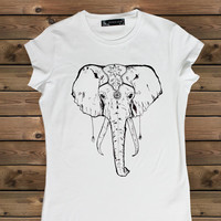 Women's Tshirt  Elephant on a Bike Ladies White T Shirt,Screen Printing T shirts,Women's T-Shirts, Elephant  Tshirt,Size S, M, L