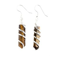 Tiger Eye Point Wrapped Earrings
