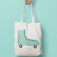Skate Tote Bag Canvas Blue Summer - Canvas Tote Bag - Printed Tote Bag - Market Bag - Cotton Tote Bag - Large Canvas Tote Funny Quote Bag