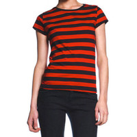 Womens Black & Red Striped Juniors T-Shirt Goth Punk Halloween Stripe Top S NEW!
