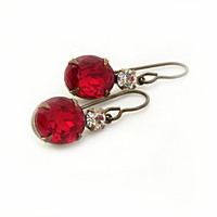 Ruby Red Rhinestone Earrings