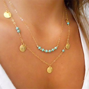 Trendy Turquoise Beads Double-Layered Necklace