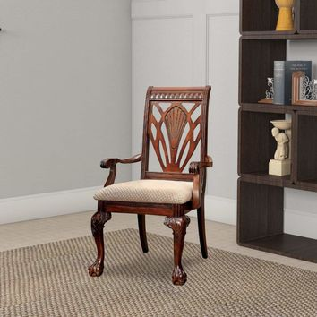 Petersburg I Traditional Arm Chair, Cherry Finish, Set of 2 By Casagear Home