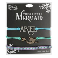 Licensed cool Disney Little Mermaid Ariel Charm Faux Beads Cord Bracelet 3 Pack Arm Party NEW