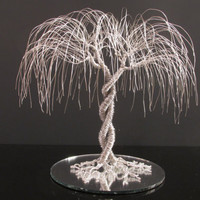 """Wedding Cake Topper """"The Embrace"""" Made Of Silver Jewelry Wire and Mounted On Mirror"""