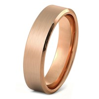 Mens Rose Gold Wedding Band 6mm Tungsten Carbide Brushed Man Engagement Ring Male Anniversary Promise Female His Hers Matching Polished Beveled Edges