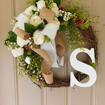 White Rose Grapevine Wreath with Burlap with Monogram. Year Round Wreath. Spring Wreath. Summer Wreath. Monogram Wreath. Door Wreath.