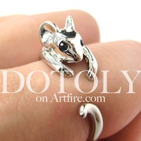 Mouse Animal Wrap Around Ring in Shiny Silver - Sizes 4 to 9 Available