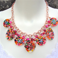 Resin candy resin charm necklace with copper chain, crowns and rainbow sprinkles, - resin necklace - kawaii, sweet lolita