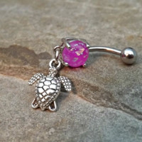 Turtle Fire Opal Purple Belly Ring Navel Ring Body Jewelry 14ga Surgical Steel