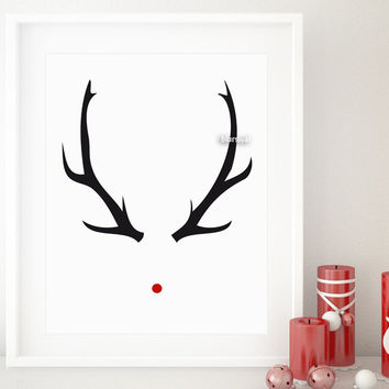 Rudolph print featuring black antlers and red nose