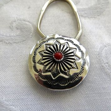 Vintage Zuni Key Ring, Old Pawn Zuni, Sterling Coral Key Fob, Signed LO Lawrence Ohmsatte, Native American Jewelry