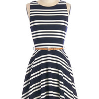 ModCloth Nautical Mid-length Tank top (2 thick straps) A-line All Bands on Deck Dress