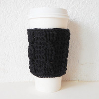 Black Cotton Cable Stitch Coffee Cozy, ready to ship.