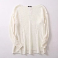 FREE SHIPPING Spring loose in the shoulder of the long loose holes long sweater knitted sweater