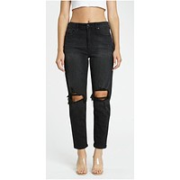 Super High Rise Mom Ankle Jeans- Black
