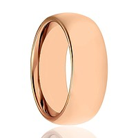 Domed Rose Gold Tungsten Couple Matching Wedding Ring Polished Finish - 2MM - 5MM - 7MM