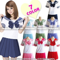 7 Colors Japanese Anime Sailor Style Student School Girl Costume Uniforms Dress = 1932351556
