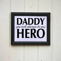 Daddy Hero Typography Print Wall Decor