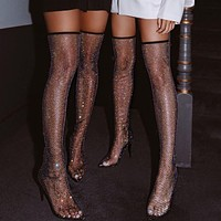 Women Black Bling Mesh Over The Knee Boots