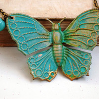 A Turquoise Butterfly Necklace by roomofyourown on Etsy