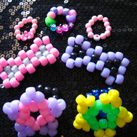 Kandi Accessories SET of 7 -  Rings and Hair Bows