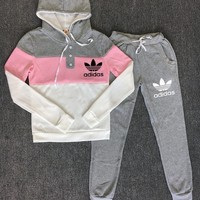 Adidas Fashion Women Leisure Hoodie Long Sleeve Sweater Pants Trousers Set Two-Piece Grey Pink