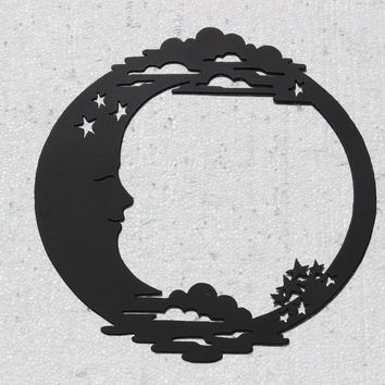 Crescent Moon with Clouds and Stars Metal Wall Art Home Decor