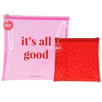 It's All Good Pink Red Cute/Cool/Unique Zipper Pouch Set/Bag/Clutch/Cosmetic Bag