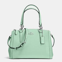 New Authentic Coach F36704 Mini Christie Crossgrain Leather Carryall Satchel Shoulder Bag in Seaglass Green