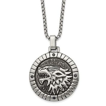 Stainless Steel Antiqued With CZ Chimera 24in Necklace