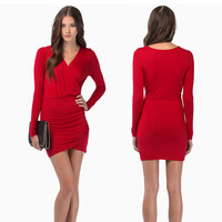 Deep V Long Sleeve Sexy Baby One Piece Dress [4917747140]