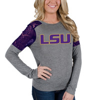 LSU Tigers Women's Isabel Lace Long Sleeve T-Shirt – Gray