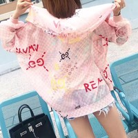 """""""Gucci"""" Women Sweet Fashion Multicolor Letter Logo Print Zip Cardigan Long Sleeve Hooded Coat Sun Protection Clothing"""