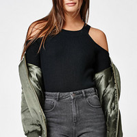 Kendall & Kylie Fitted Cold Shoulder Sweater at PacSun.com