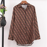 Fendi Fashion New More Letter Print Long Sleeve Loose Top Shirt Women Brown