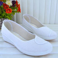 Women Casual Shoes White Canvas Shoes Work