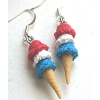 Red, White and Blue Ice Cream Dangle Earrings