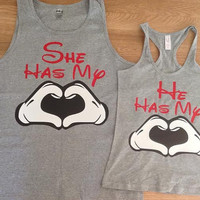 Free Shipping Disney She/He Has my Heart Couples Shirts/Tank Tops