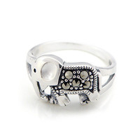 silver cute baby elephant ring silver Thai  ring female ring rings silver jewelry by ClothLess