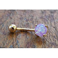 Purple Opal Gold Belly Button Ring Synthetic Opal