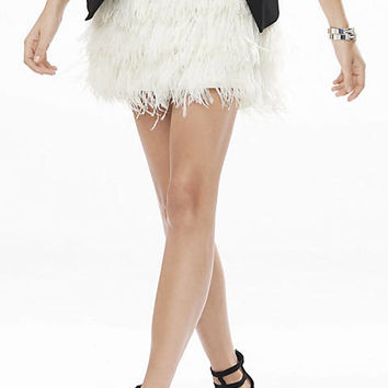 White Ostrich Feather Fringe Mini Skirt from EXPRESS